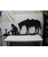 Praying Cowboy and Horse XL Metal Silhouette Wall Yard Art - $185.00