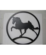 Walking Horse in Circle  Large 10ga Steel Silhouette Metal Farm Wall Yar... - $240.00