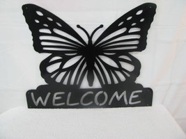 Butterfly Welcome Metal Wall Yard Art Silhouette by cabinhollow - $85.00