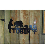 Custom Metal Sign Bear Family and Trees Wall Art Wildlife Silhouette - $90.00