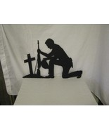 Soldier Praying Hat in Hand Metal Wall Yrad Art Silhouette - $55.00