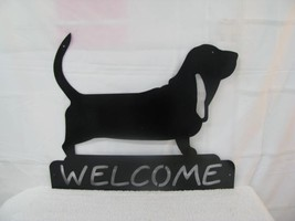 Basset Hound Welcome Metal Wall Yard Dog Art Si... - $55.00