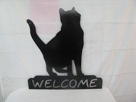 Cat 13 Welcome Wall Yard  Art Metal Silhouette - $55.00