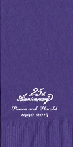 50 Personalized 25th Anniversary Towel Fold Napkins  - $14.95+