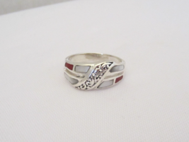 Vintage Sterling Silver Inlay Coral & MOP Filigree Ring Size 8 - $30.00
