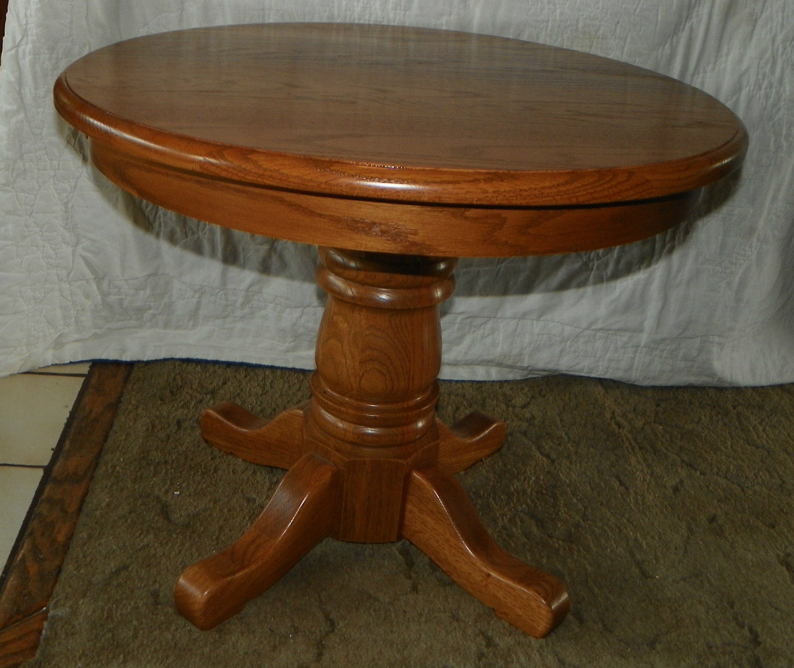 Solid oak round end table side and similar items