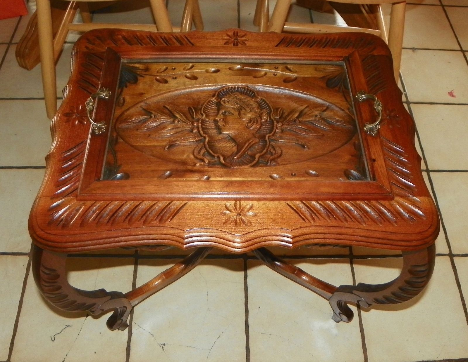 Solid Walnut Carved Coffee Table With Serving Tray Ct95 Post 1950