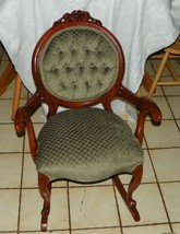 Solid Mahogany Carved Rocker / Rocking Chair by Victorian - $494.01