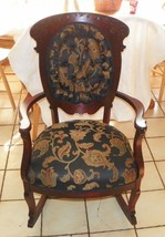 Mahogany Carved Tufted Rocker Rocking Chair - $444.51