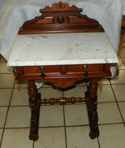 Walnut Carved Marble Top Writing Desk / Entry Table  (DR70) - $1,088.01