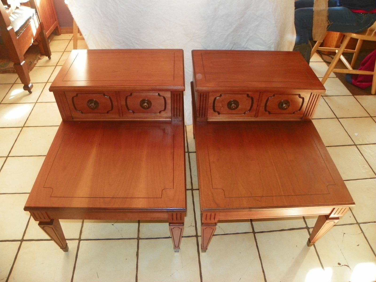 57 Pair Of Cherry Mersman Step End Tables