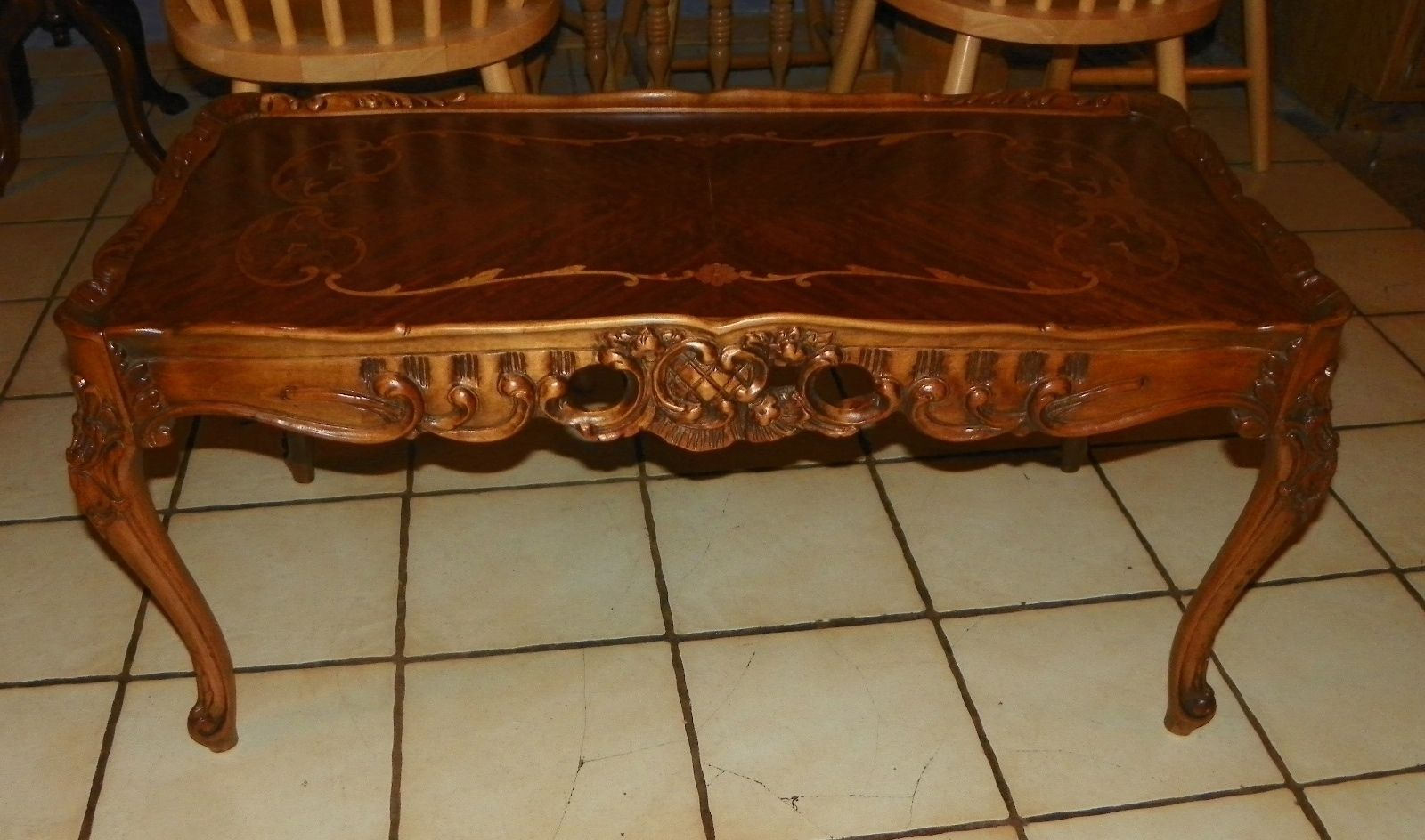 Mahogany Rosewood Marquetry Inlaid Carved Coffee Table Ct53 Post 1950
