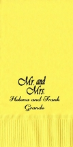 50 PERSONALIZED Mr. and Mrs. towel fold NAPKINS  - $14.95+