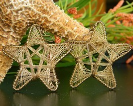 Vintage Star Earrings Wire Wrapped Large Dangle Pierced Gold Tone - $17.95