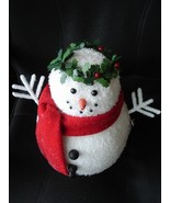 LED Large Snowman with Holly Wreath Figure NIB ... - $9.95