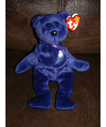 PRINCESS DIANA Purple Bear WHITE FLOWER 1997 TY Beanie Baby with tag - $5.89