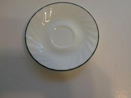 "Corelle Holiday Magic (2) Saucers 6"" White Swirled Green Trim EUC* - $4.99"