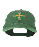 Celtic Cross Embroidered Washed Cap - Dark Green OSFM W42S49A - $14.99