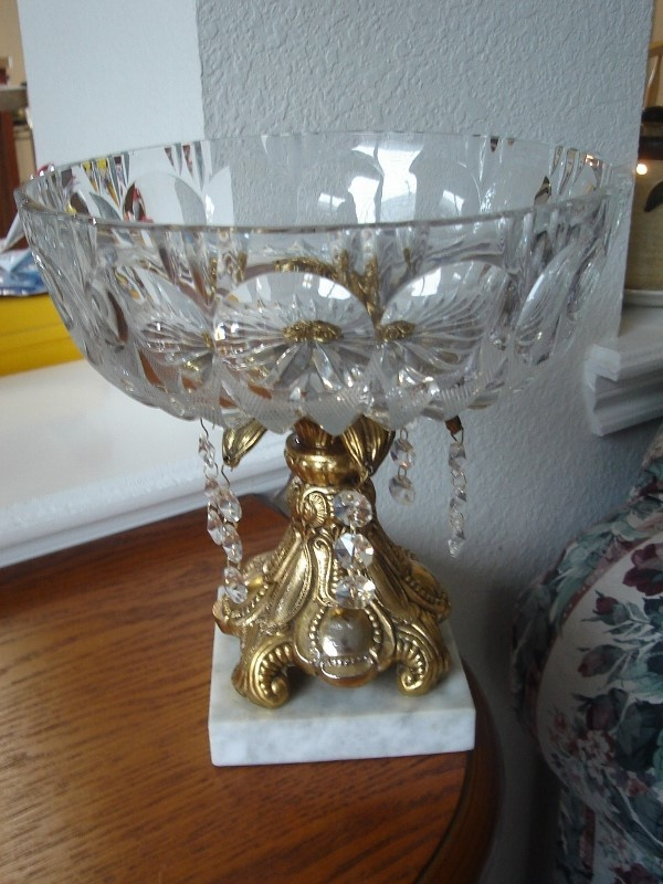 Vintage Glass Bowl on Metal Stand with Marble Base and Prisms
