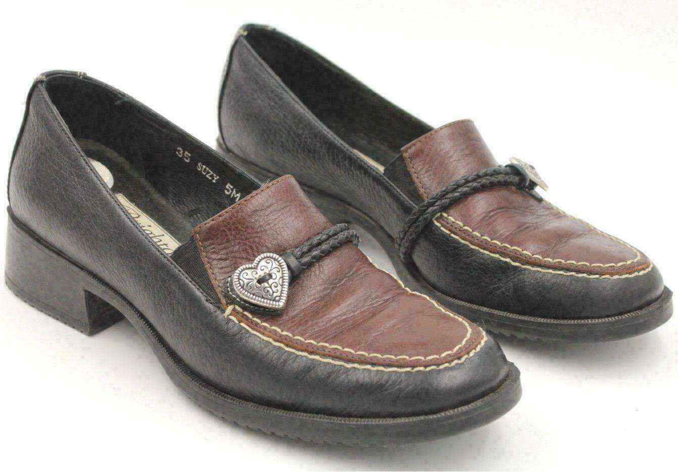 Primary image for Brighton Suzy Women Slip On Block Heel Loafers Size US 5M Black Brown Leather