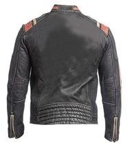 Retro Cafe Racer Distressed Black Vintage Biker Leather Jacket image 3