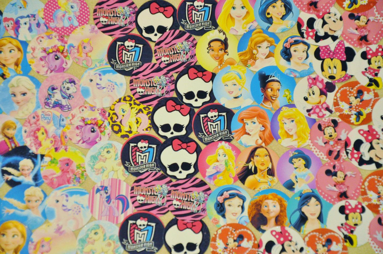 "100 1"" PRECUT MIX ""Frozen, Princess My Little Pony, Monster High, Minnie Mouse"""