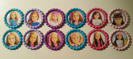 """Set of 12 """"AMERICAN GIRL DOLL"""" Colored Flat Bottlecaps ! Hairbows & Scra... - $9.00"""