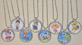 """Set of 8- """"PAW PATROL"""" Flat Bottlecap NECKLACES! Great for birthday part... - $9.00"""