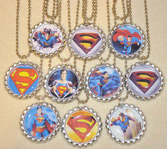 """Set of 10- """"SUPERMAN"""" Flat Bottlecap NECKLACES! Great for birthday party... - $11.00"""