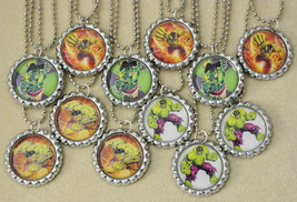 """Set of 12- """"HULK"""" Flat Bottlecap NECKLACES! Great for birthday party favors - $12.50"""