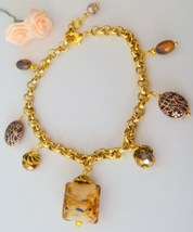Handcrafted Lampwork and Swarovski Crystal Beaded Gold Charm Bracelet - $14.99