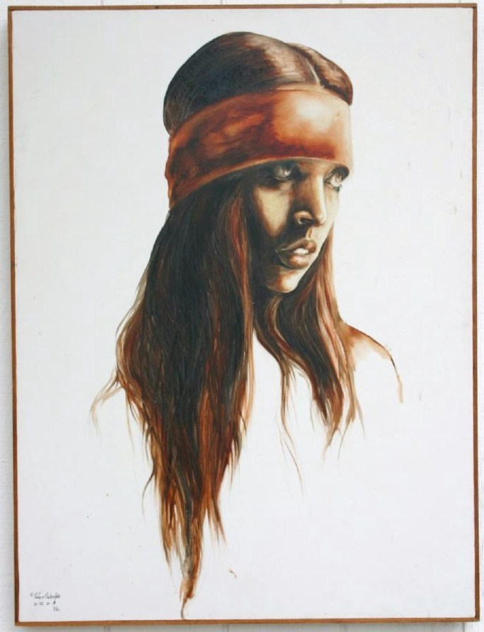 "Rare 1976 Popo & Ruby Lee ""Indian Girl"" Original Oil Painting, With COA"