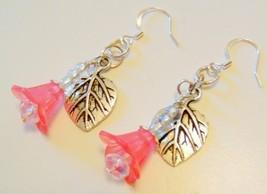 Pink Acrylic Flower Earrings with Swarovski Crystal Beads - $13.99