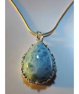 STUNNING Real Caribbean Blue LARIMAR Teardrop Silver Pendant w/Chain #3 - $75.00