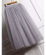 Modern Romantic Princess Skirt. Light Grey Mesh Tulle Skirt. Bridesmaids... - $63.00