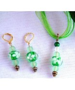 Flower Lampwork Beaded Necklace and Earrings Set - $14.99