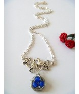 Wire Wrapped Birds Nest Necklace with Blue Chalcedony Beads - $13.99
