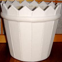 Round 'Picket Fence' White Wooden Flowerpot w/ Liner - $7.00