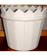 Round 'Picket Fence' White Wooden Flowerpot w/ Liner - $7.00