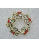 Gold Circle Pin Brooch Rhinestones Opal Vintage  - $15.00