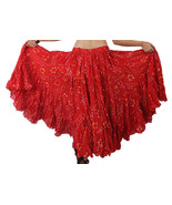 RED Cotton JAIPUR 25 Yard 4 Tier Gypsy Skirt Belly Dance Polka Dot - $51.94