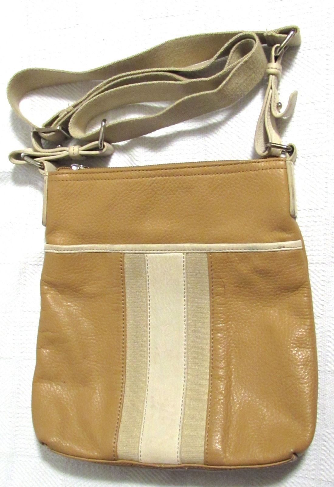 Alfani Women's Leather Beige Stripe Cross-Body/Messenger Handbag