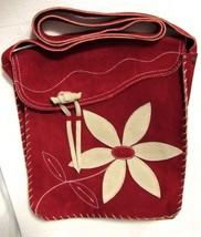Floral & Face Red Genuine Suede Cross-body/Messenger Bag w/Floral Accent