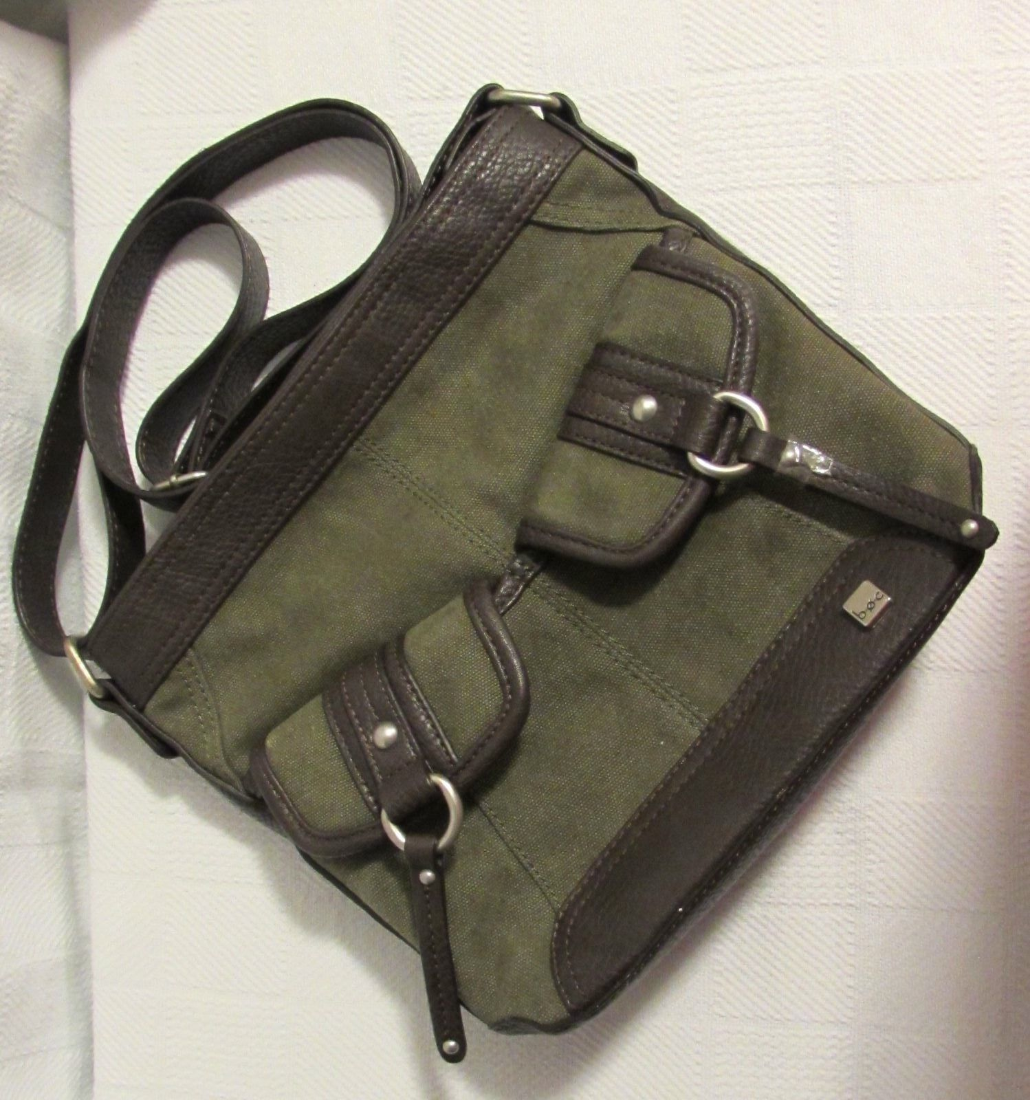 b.o.c. Women's Cargo Crossbody Shoulder Bag Green/Brown Trim Cotton/Polyester