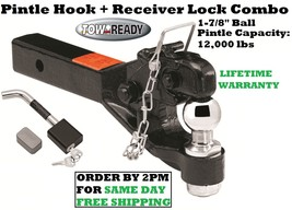 "Tow Ready Pintle Hook 12000 Lbs & 1 7/8"" Ball & Receiver Lock 2"" Hitch Receivers - $130.16"