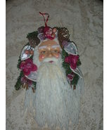 Vintage Victorian Santa Claus Ornament Burgundy and Silvery Blue - $8.00
