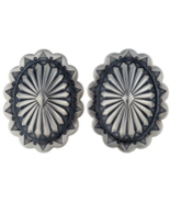 Sterling Silver Santa Fe Style Navajo Stamped Concho Posts Earrings     - $144.37