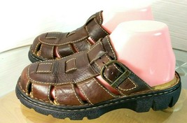 Born Women's Brown Leather Closed Toe Buckle Fisherman Sandals Size 7 M US - $19.78