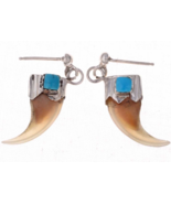 Navajo Bobcat Claw Turquoise Post Dangle Earrings - $114.47