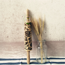 Wood Rolling Pin, Rose Pattern, Laser Engraved, Embossed Cookies Rolling... - $22.53 CAD